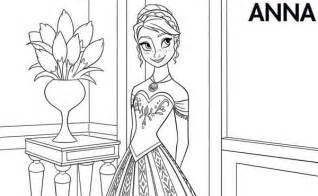 anna beautiful dress coloring free printable frozen coloring pages