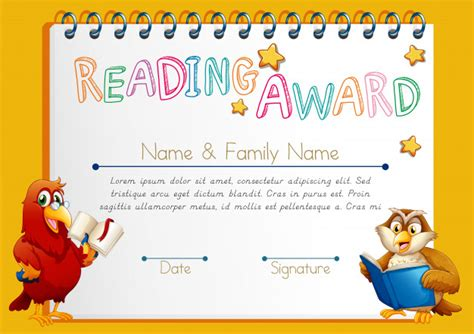 template for reading award certificate certificate template for reading award vector free download