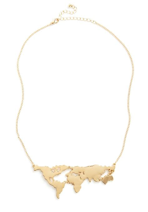 World Map Statement Necklace world you rather pendant necklace map necklace gold
