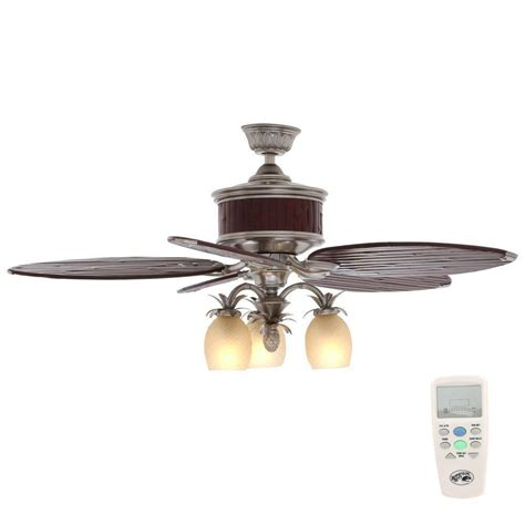 bamboo ceiling fans with lights hton bay colonial bamboo 52 in indoor pewter ceiling