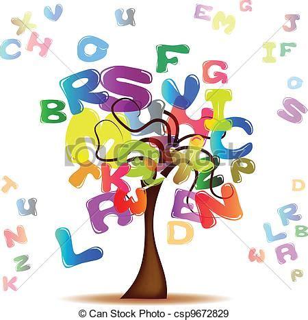 alberi clipart vettori eps di lettere albero colorato albero con