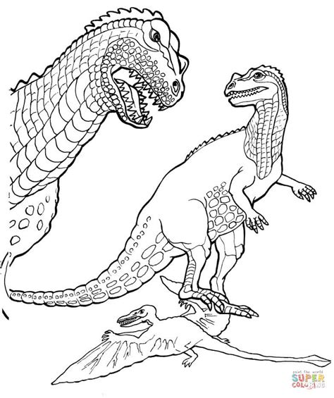 ceratosaurus and pteranodon coloring page free printable