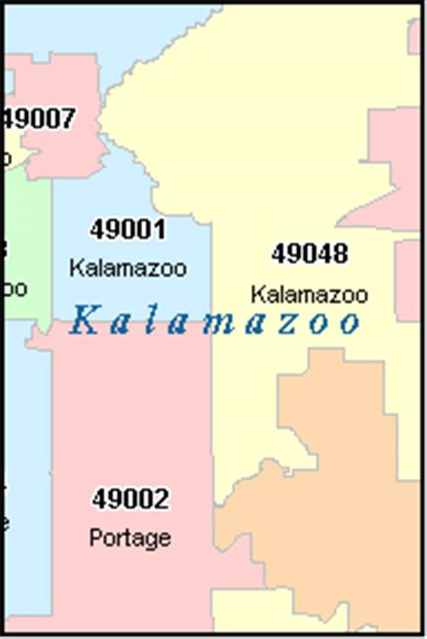 zip code map kalamazoo county kalamazoo michigan map