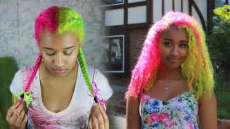 how to dye the top half of your hair half and half bright yogurt hair dye tutorial