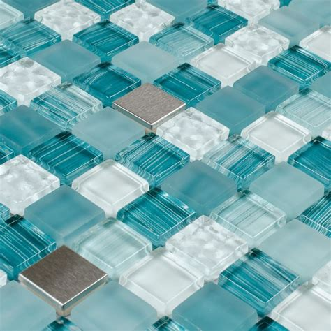 Design For Turquoise Glass Tile Ideas Glass Mosaic Tile Stainless Steel Blend Turquoise Glass Mosaic Tiles Mosaics And Stainless Steel