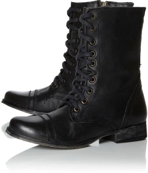 steve madden troopa sm lace up boots in black for