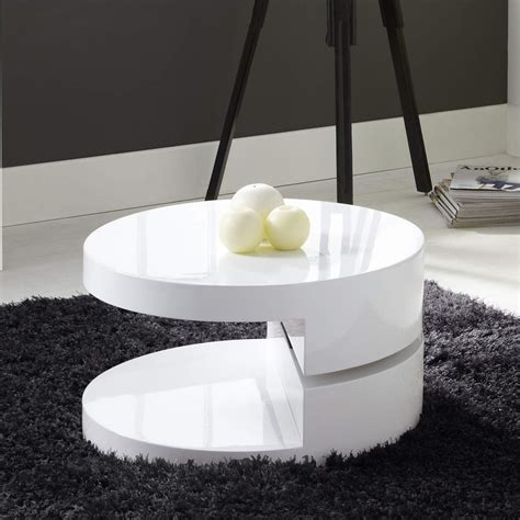 high gloss white table top round rotating top coffee table in white high gloss ebay