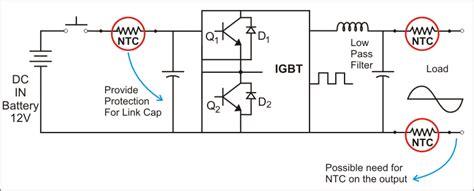 ntc thermistor bridge circuit inverter inrush current protection ametherm