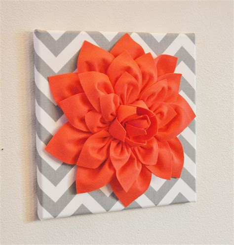Coral Colored Wall Decor by Wall Flower Decor Coral Dahlia On Gray And White Chevron 12