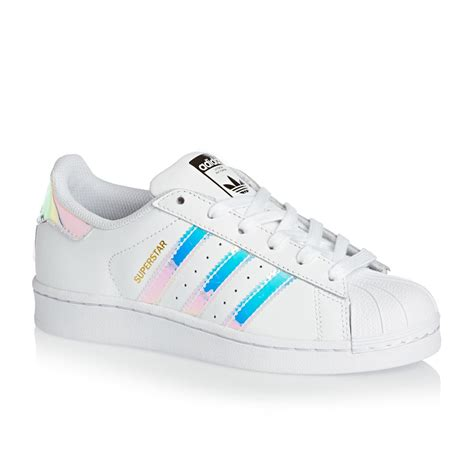 J Adidas adidas originals superstar j trainers white metallic