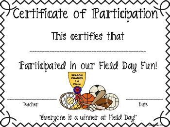 field day certificate by learning is something to treasure