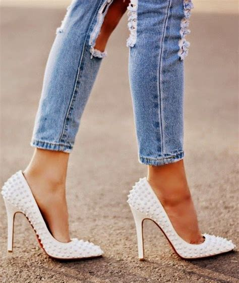 Fashion Studed 801 Uk361330 christian louboutin white spiked pointed toe heels my style boots high heels