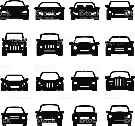 car layout vector car icons front views black series stock vector art more