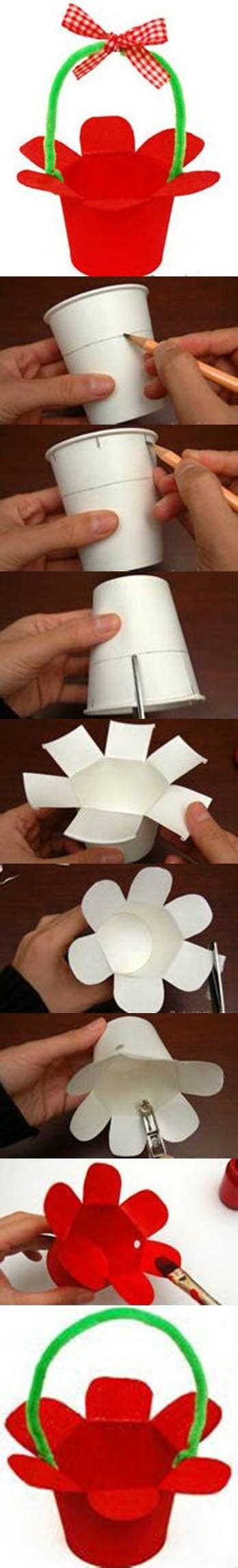 How To Make A Paper Basket Step By Step - how to make paper cup basket step by step diy tutorial