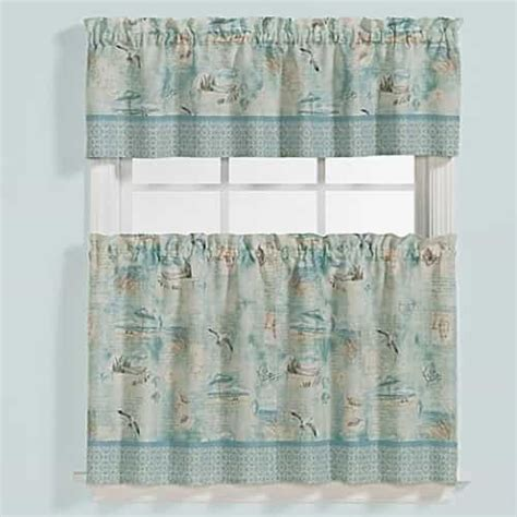 Nautical Kitchen Curtains Nautical Kitchen Curtains Nautical Valances Htons Lighthouses Nautical 24l Tiers Valance Set