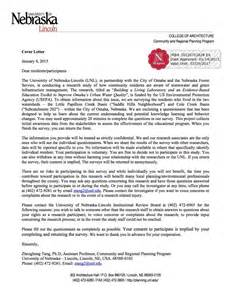 Infrastructure Support Cover Letter by Community Survey Green Infrastructure Of Nebraska Lincoln