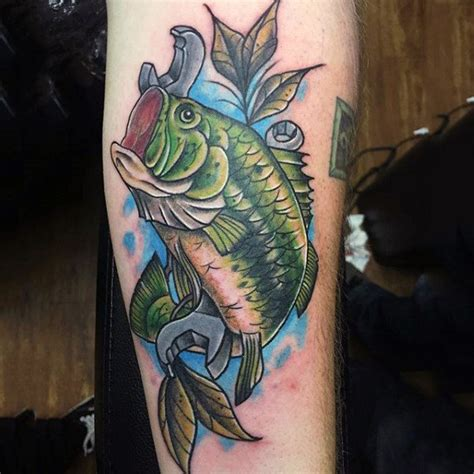bass fishing tattoos 75 bass designs for sea fairing ink ideas