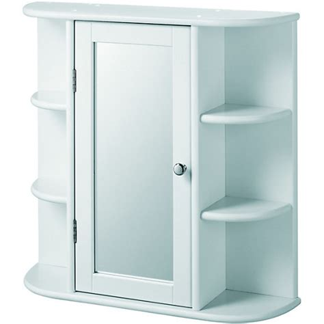 Wickes Bathroom Single Mirror Cabinet With 6 Shelves White 580mm Wickes Co Uk