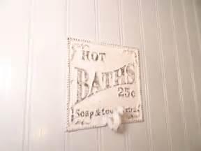 shabby chic bath wall hook hot bath sign wall decor by junkintime