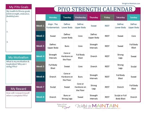 printable workout plan calendar 7 best piyo calendar images on pinterest piyo workout