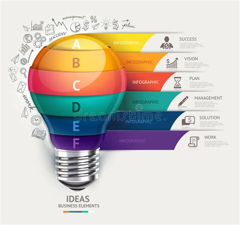 Business Concept Infographic Template Lightbulb And Doodles Ico Stock Vector Illustration Of Drawing Infographic Template