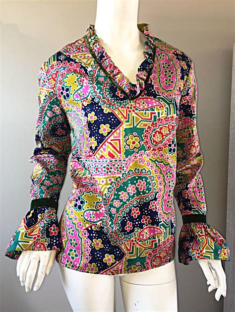 Id Color Paint Blouse Green psychedelic 1970s 70s paisley floral multi color boho