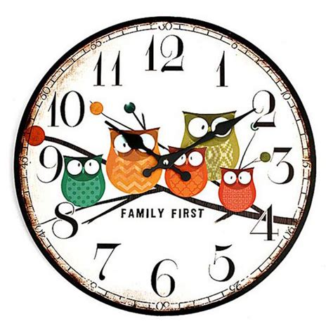 Jam Dinding Hello Bulat jam dinding bulat style eropa 30cm owl wooden multi color jakartanotebook