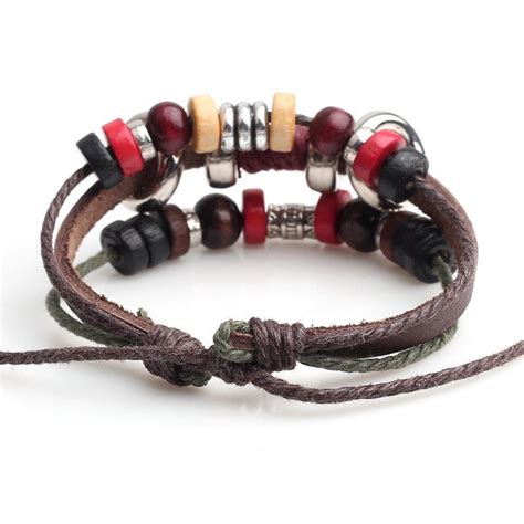 Handmade Bracelets Australia - handmade pu leather bracelet colourful tribal