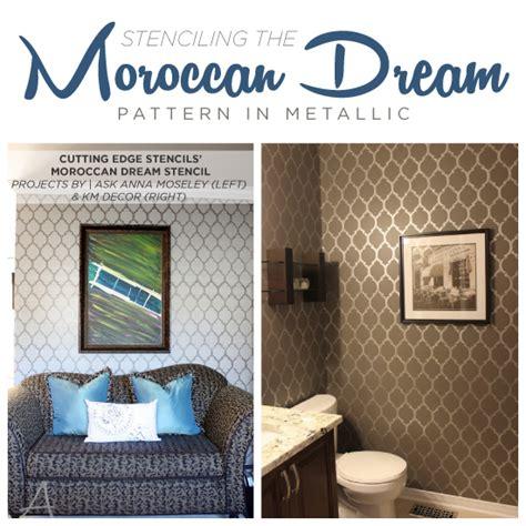 bathroom wall stencil ideas stenciling the moroccan dream pattern in metallics