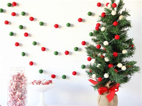 how to hang garland on christmas tree garland pom pom garland felt banner felt garland mantle decor tree decor