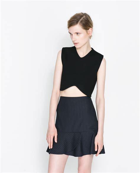 zara cropped top in black lyst