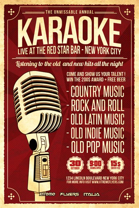 free templates for karaoke flyers karaoke flyer template psd download xtremeflyers