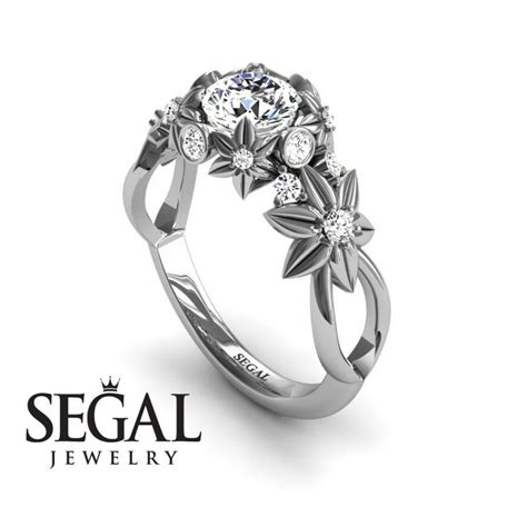Wedding Rings That Look Like Flowers by Unique Flower Engagement Ring Ring 14k White Gold