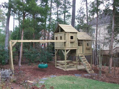 how to level yard for swing set backyard playground hand crafted wooden playsets swing