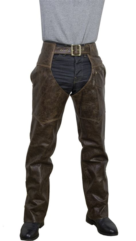Cowhide Chaps brown antique cowhide leather motorcycle chaps 551