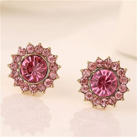 Anting Korea Sweet Flowers Resin Simple Earrings korean sweet fashion rhinestone embedded flower ear studs