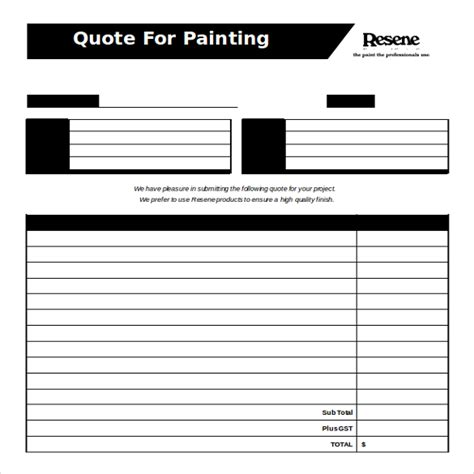 painting quotes templates 14 ms word 2010 format quotation templates free