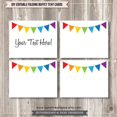 printable editable birthday cards free editable tent cards and buffet labels rainbow