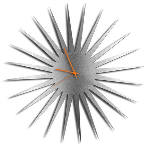 modern style wall clock mcm starburst clock silver midcentury modern wall clocks