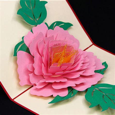 Pop Up Card Flowery Big 3d peony flower handmade pop up card greeting gift card