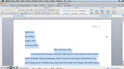 Mla Formatting Microsoft Word 2011 Mac Os X Youtube Microsoft Word Mla Template