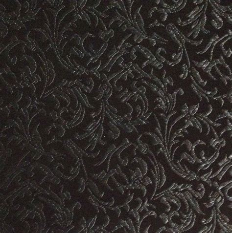 brocade fabric brocade tonal floral scroll black