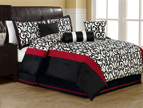 red black and white comforter set 7pcs queen fantasia flocking black and white comforter set