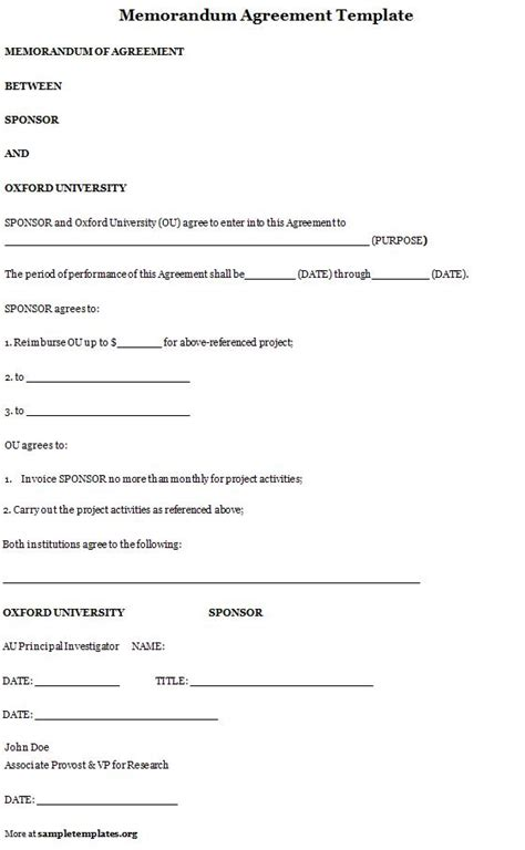 memorandum of agreement template memorandum of agreement template