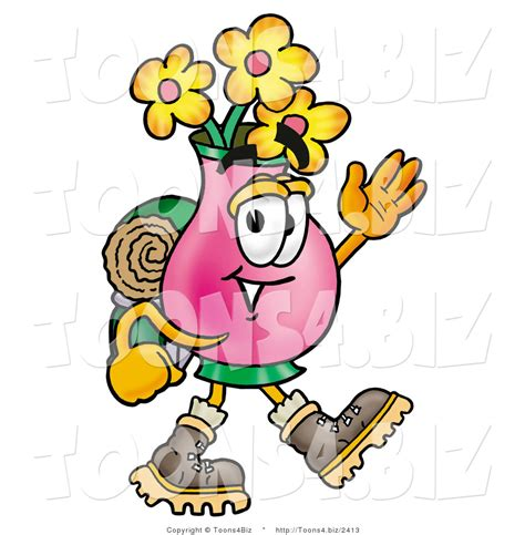 Backpak Flower Vase illustration of a flowers mascot hiking and