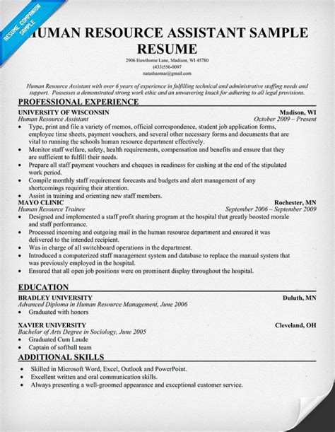 Resume Template Human Resources Position Human Resource Assistant Resume Resumecompanion Hr