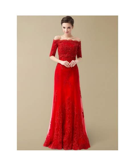 Best Off the Shoulder Lace Half Sleeve Long Red Wedding