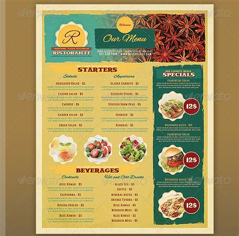 templates for restaurant menus 17 useful vintage restaurant menu templates psd
