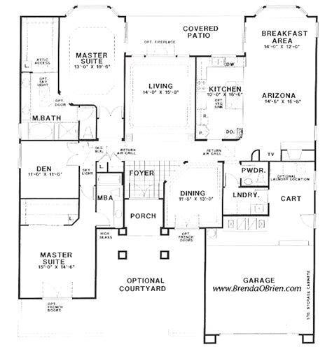 floor plans with 2 master suites one story floor plans with 2 master suites house plans