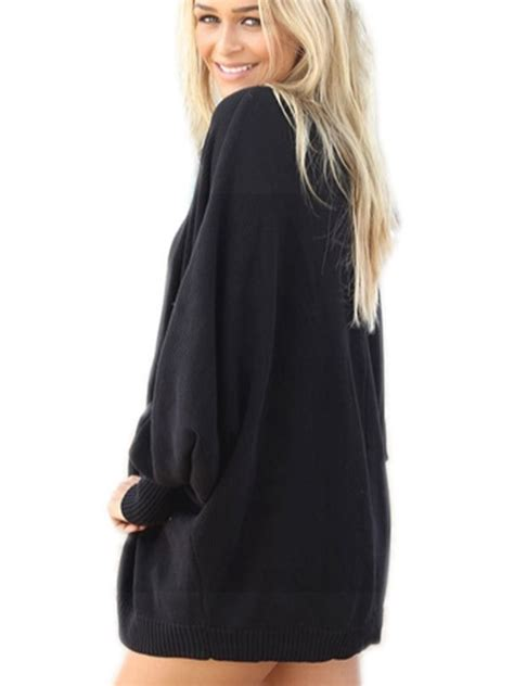 Outwear Sweater Aw Black bat sleeve outwear jacket thin knitted black sweater coat new style cardigan